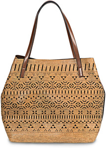 "Marissa Chocolate by H2Z Laser Cut Handbags - 19"" x 7"" x 13"" Oversized Cork Purse/Tote"