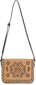 "Gabrielle Navy by H2Z Laser Cut Handbags - 10"" x 1"" x 7.5"" Small Cork Purse/Crossbody"