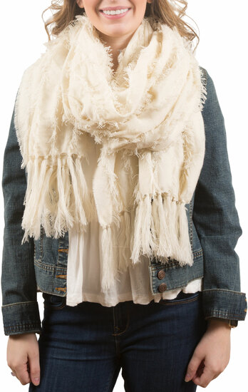 Cream by H2Z Scarves - Cream - Oversized Frayed Scarf