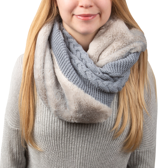 Cadet Blue by H2Z Scarves - Cadet Blue -  Cable Knit & Faux Fur Infinity Scarf