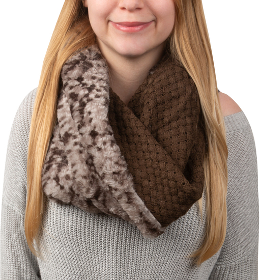 Warm  Brown by H2Z Scarves - Warm  Brown - Weave Knit & Faux Fur Infinity Scarf