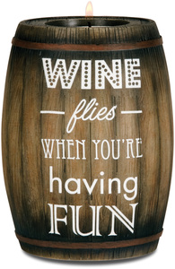 "Having Fun by Wine All The Time - 5"" Wine Barrel Candle Holder"