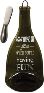 "Having Fun by Wine All The Time - 12"" Wine Bottle Serving Tray & Spreader"