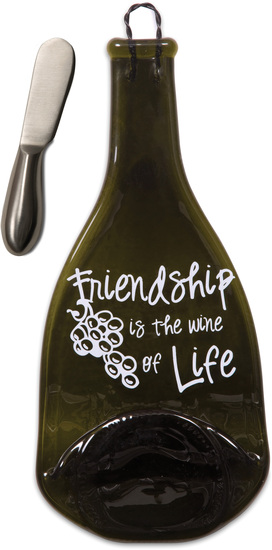 "Friendship by Wine All The Time - Friendship - 12"" Wine Bottle Serving Tray & Spreader"