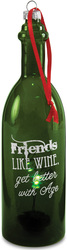 "Friends by Wine All The Time - 7"" LED Lit Glass Ornament"