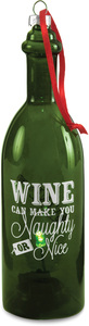 "Naughty or Nice by Wine All The Time - 7"" LED Lit Glass Ornament"