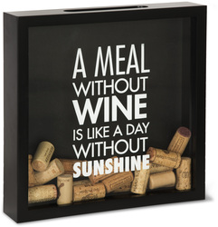 "A Meal Without Wine by Wine All The Time - 11"" x 11"" x 2.25"" Wood Cork Holder"