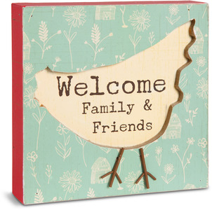 "Welcome by Live Simply by Amylee - 4.5"" x 4.5"" Plaque"