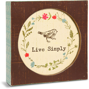 "Live Simply by Live Simply by Amylee - 4.5"" x 4.5"" Plaque"