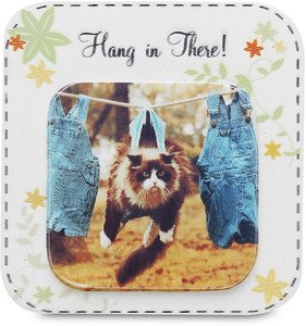 "Hang in There by Candidly...LOL - 2.75"" Funny Cat Magnet"