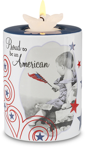 "Proud to be an American by Candidly...LOL - 4"" Tea Light Holder"
