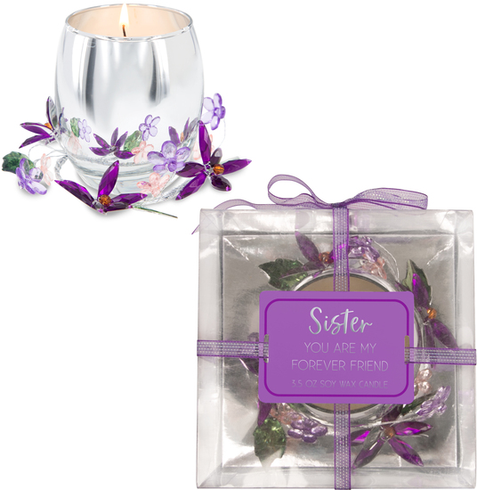 Sister Purple Flower by Reflections of You - Sister Purple Flower - 3.5oz 100% Soy Wax Candle Scent: Jasmine