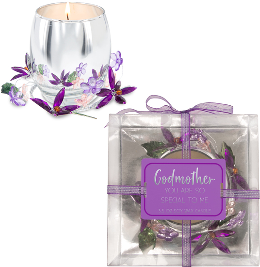 Godmother Purple Flower by Reflections of You - Godmother Purple Flower - 3.5oz 100% Soy Wax Candle Scent: Jasmine