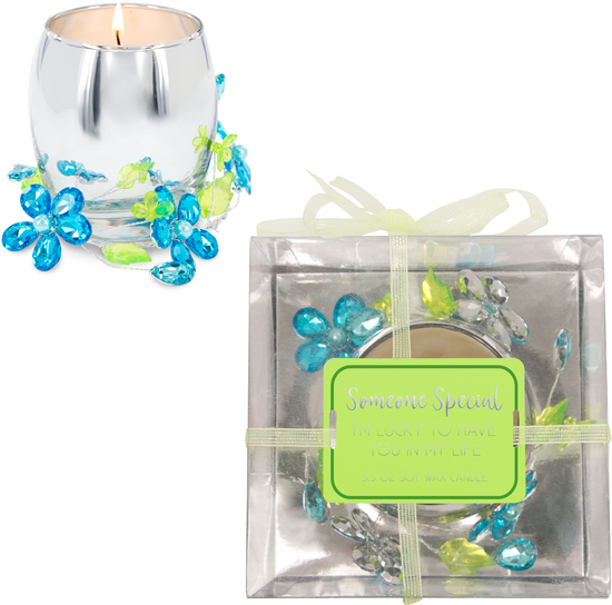 Someone Special Blue Flower by Reflections of You - Someone Special Blue Flower - 3.5oz 100% Soy Wax Candle Scent: Jasmine