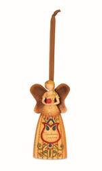 "Teacher by Country Soul - 4.5"" Angel Holding Apple Ornament"