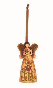 "Beauty by Country Soul - 4.5"" Angel Holding Flower Ornament"