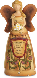 "Godmother by Country Soul - 6"" Angel Holding Flowers"