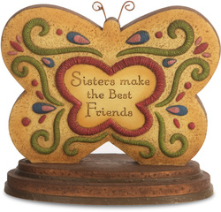 "Sister by Country Soul - 4"" x 4.5"" Butterfly Plaque"