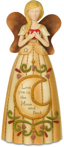 "Love You to the Moon by Country Soul - 7.5"" Angel Holding Heart"
