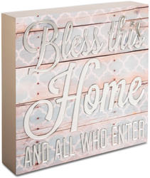 "Bless this Home by Radiant Reflections - 8"" x 8"" Self-Standing Plaque"