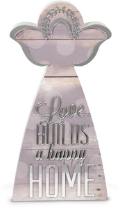"Home by Radiant Reflections - 12"" Self-Standing Angel Plaque"
