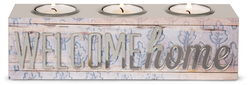 "Welcome Home by Radiant Reflections - 8.5"" x2.25"" x 2.5"" Triple Tea Light Holder"