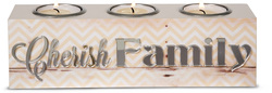 "Cherish Family by Radiant Reflections - 8.5"" x2.25"" x 2.5"" Triple Tea Light Holder"