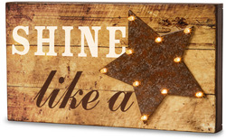 "Shine Like a Star by Marquee Message - 11"" x 6"" LED Marquee Plaque"