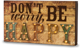 "Be Happy by Marquee Message - 11"" x 6"" LED Marquee Plaque"