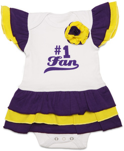 Purple & Gold by Itty Bitty & Pretty - #1 Fan Onesie Dress (0-6 Months)
