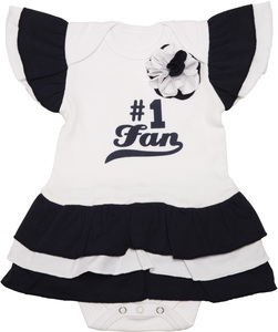 Navy & White by Itty Bitty & Pretty - #1 Fan Onesie Dress (0-6 Months)