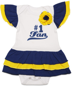 Blue & Gold by Itty Bitty & Pretty - #1 Fan Onesie Dress (0-6 Months)