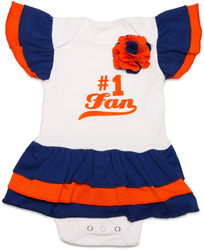 Blue & Orange by Itty Bitty & Pretty - #1 Fan Onesie Dress (0-6 Months)