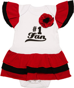 Red & Black by Itty Bitty & Pretty - #1 Fan Onesie Dress (0-6 Months)