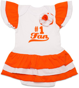 Orange & White by Itty Bitty & Pretty - #1 Fan Onesie Dress (0-6 Months)