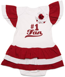 Maroon & White by Itty Bitty & Pretty - #1 Fan Onesie Dress (0-6 Months)
