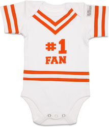Orange & White by Itty Bitty & Pretty -  #1 Fan Onesie (0-6 Months)