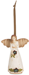 "Friendship by Simple Spirits - 4.5"" Angel Holding Flower Ornament"