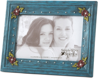 "Blue Floral by Simple Spirits - 6"" X 7.75"" Gemstone Frame"