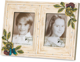 "Double Ivory Floral by Simple Spirits - 5.5"" x 7.75 Photo Frame  (Holds 2.5"" x 3.5"" Photo)"