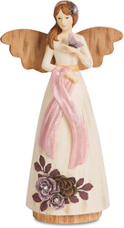 "Survivor by Simple Spirits - 7.5"" Angel Holding Butterfly with Pink coloration to symbolize Breast Cancer Awareness."