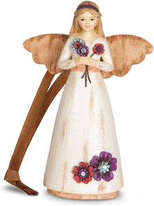 "Grandma by Simple Spirits - 4.5"" Angel Ornament Holding Flowers"