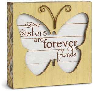 "Sister by Simple Spirits - 4.5"" Butterfly Plaque"