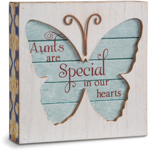"Aunt by Simple Spirits - 4.5"" Butterfly Plaque"