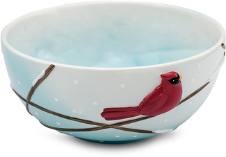 "Winter Cardinals by Really Red - 6.5""Diax3.75""H Ceramic Bowl"