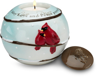 "Love and Peace by Really Red - 3.75""Cer. Rnd T-Light Holder"