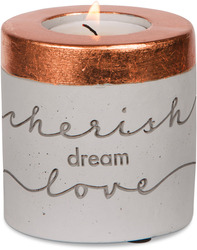 Cherish, Dream, Love cement tealight holder