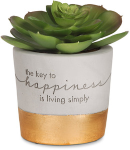 "Happiness by Sweet Concrete - 3.5"" x 3"" Cement Planter & Faux Succulent"
