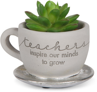 "Teacher by Sweet Concrete - 4"" x 2.5"" Cement Teacup Planter & Faux Succulent"