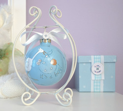 "Baby Boy by Cute as a Button - 4""Glass Ball w/Stand"